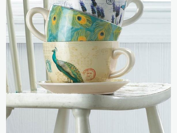 Teacup & Saucer Flower Pot Planter Photo Frame & Vase 4PC Peacock-Inspired