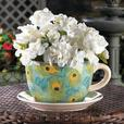 Teacup & Saucer Flower Pot Planter Photo Frame & Vase 4PC Peacock-Inspired