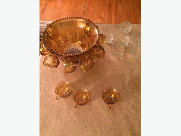 Carnival Glass Punch Bowl with cups