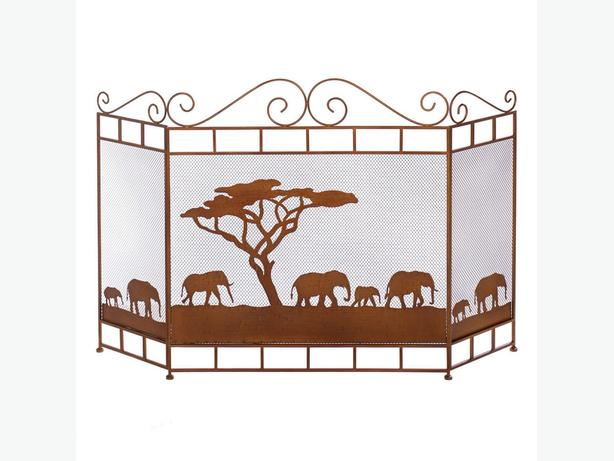 African Safari Fireplace Screen Parading Elephant Silhouettes Brand New