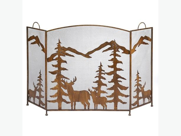 Rustic Forest Scene Fireplace Screen Cutout Mountains & Deer Detailing Brand New