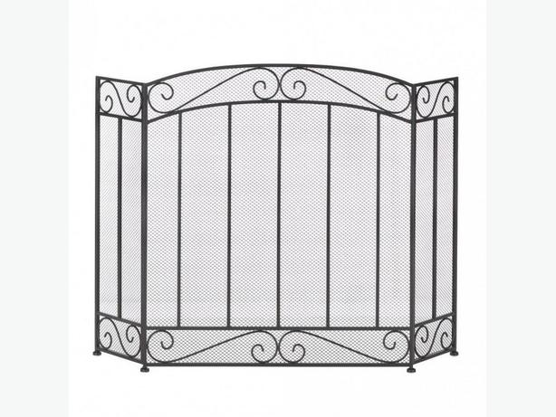 Classic Black Iron Contemporary Fireplace Screen Scrollwork Detailing Brand New