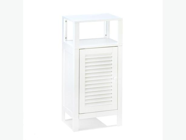 Spacesaving White Storage Cabinet Nightstand Door & Open Display Shelf Brand New