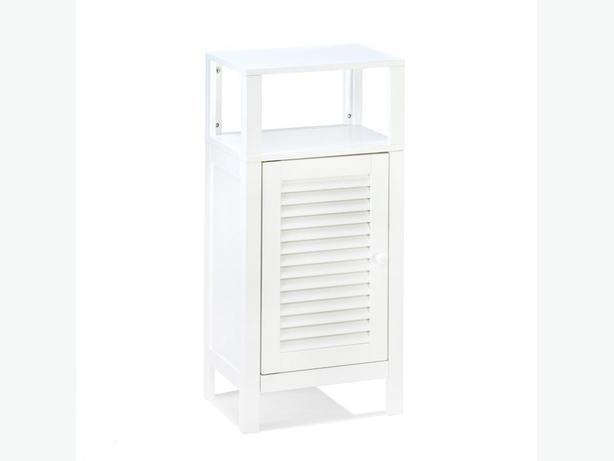 Spacesaving White Storage Cabinet Nightstand Door & Open Display Shelf Brand New