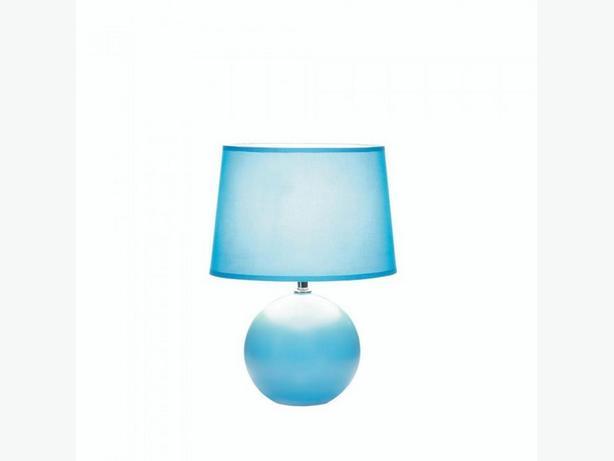 Ceramic Table Lamp Round Base & Matching Fabric Shade Blue White Pink Choose 2