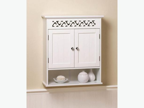 White Wood Wall Cabinet Double Doors & Open Display Shelf 2 Styles Choice New