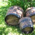 Versatile Apple Barrel Wood Flower Pot Bucket Tub Planter Set of 3 S/M/L New