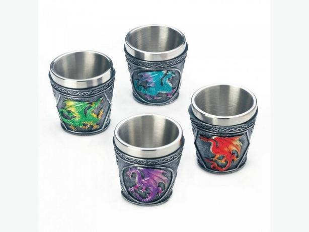 Dragon Shot Glass Stainless Steel 3 Sets of 4 Brand New