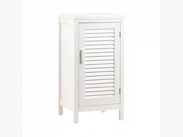 White Wood Floor Cabinet 2 Shelves Slatted Door Brand New