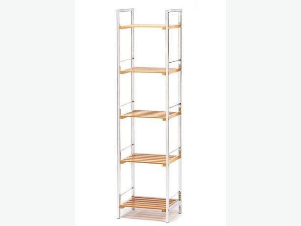 Tall Chrome-Plated Storage Curio Display Shelf Rack with Bambo Shelves New