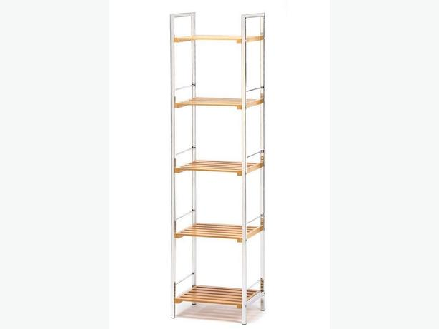 Tall Chrome-Plated Storage Curio Display Shelf Rack with Bambo Shelves New