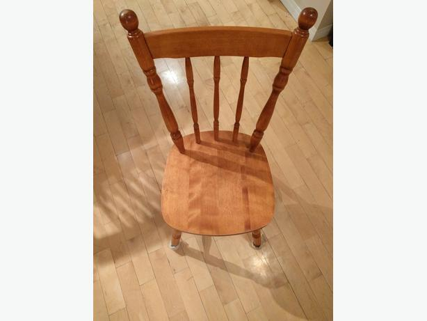 Four Solid Maple Wood Dining Chairs