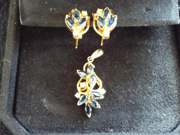 Sapphire and Diamond Pendant and Earrings