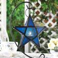 Tabletop Star Candleholder Lantern with Stand Blue Clear 6 Lot Choice