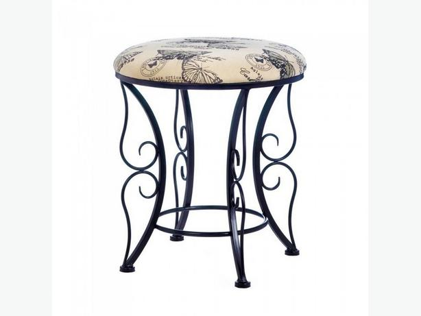 Round Black Metal Stool Seat with Scrolling Legs & Butterfly Print Top New