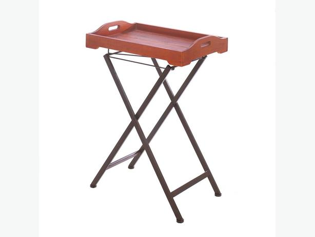 Rustic Vintage-Style Wood TV Tray Table Stand with Metal Folding Legs New