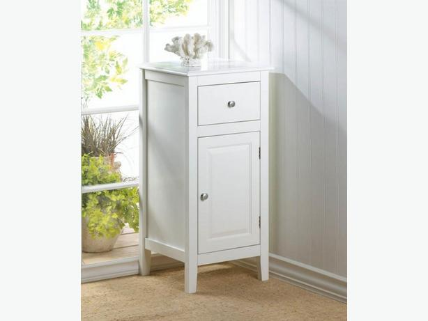 White Accent Side End Table Storage Cabinet Nightstand Shelves & Drawer New