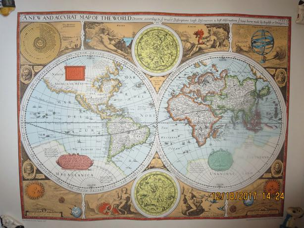 HIGH QUALITY RAND McNALLEY REPRODUCTIONS OF THE JOHN SPEED WORLD MAP OF 1627