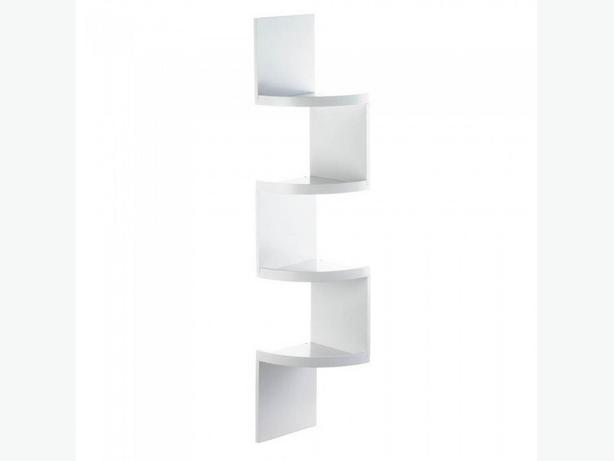 Black White Zig Zag Corner Wall Shelf Lg&Sm 4-Tier & 3-Tier 2 Sizes Mixed New