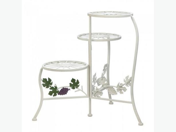 White Metal Plant Stand with Grapevine Accent Set of 2 Brand New