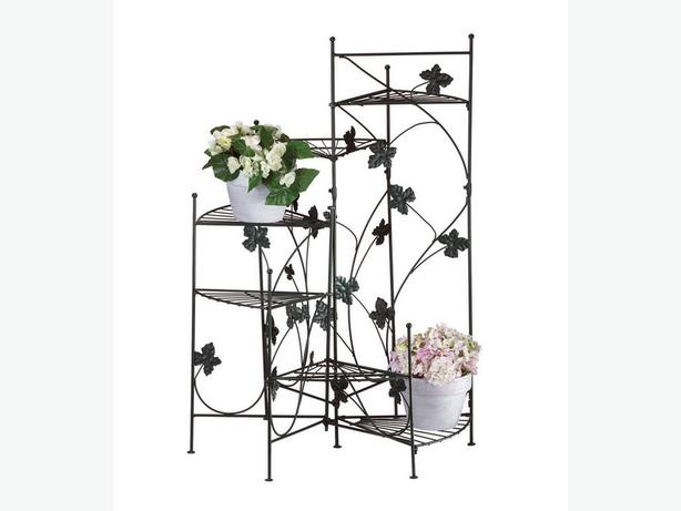 Staircase Metal Plant Stand 6 Shelves & Ivy Vine Trim Brand New