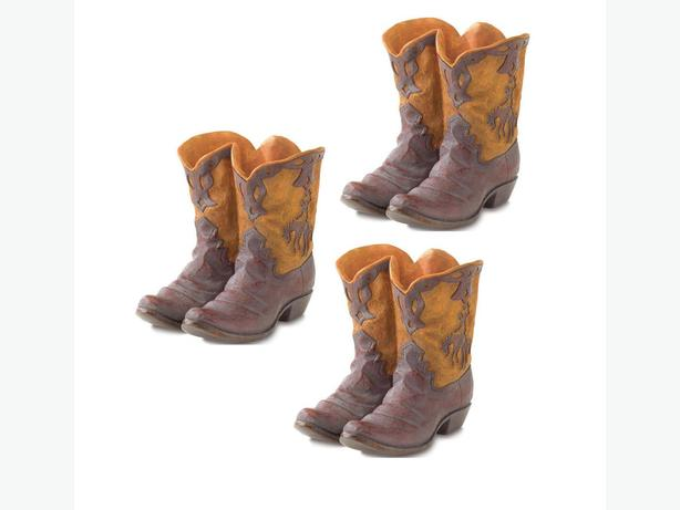 Country Western Real-Look Cowboy Boots Flower Pot Planter 3 Lot New