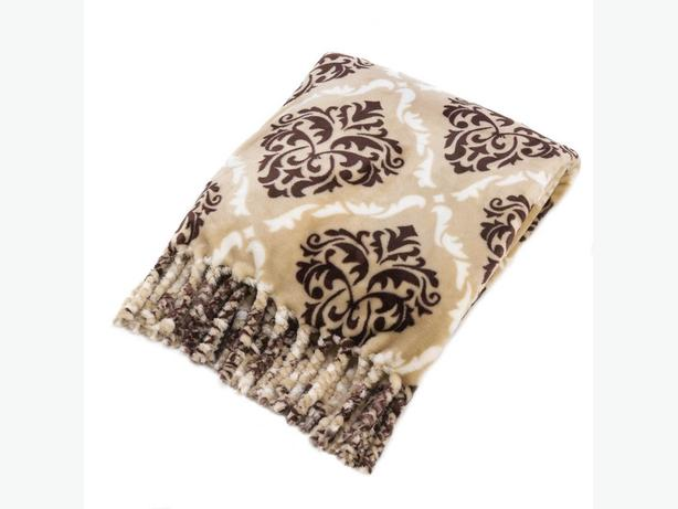 Soft Taupe & Brown Accent Throw Blanket Tassel Fringe Gifts Resale Bulk Buy of 3