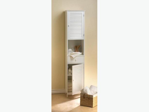 Tall Spacesaving Storage Cabinet Brand New White
