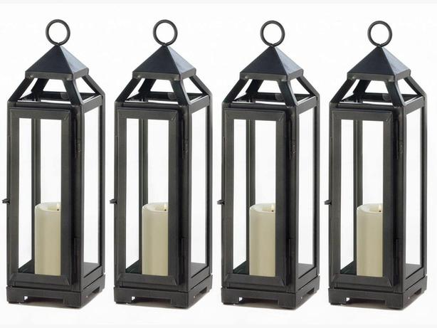 Dark Gray Metal Candle Lantern Clear Glass Panels Set of 4 Brand New
