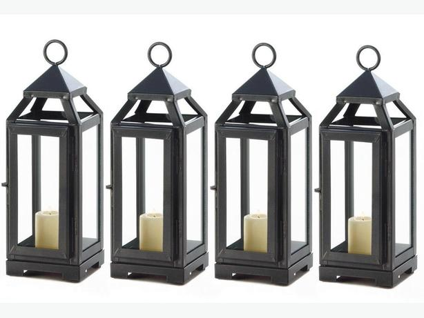 Small Dark Gray Metal Candle Lantern Clear Glass Panels Set of 4 Brand New