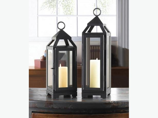 Dark Gray Metal Candle Lantern Clear Glass Panels 4 Lot Large & Small New