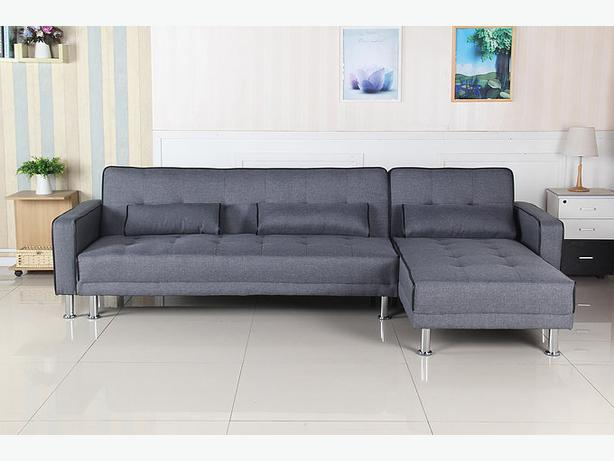 New Multi-position Sectional Fabric Sofa Bed W/Reversible Chase-Free Delivery