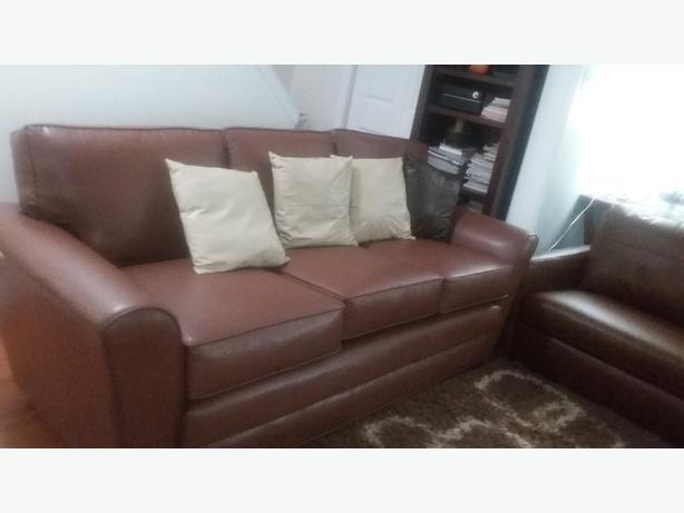 Faux Leather Three Piece Sofa Set