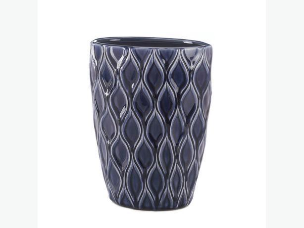 Blue Stoneware Vase & Matching Lidded Urn 2PC Mixed Lot Brand New