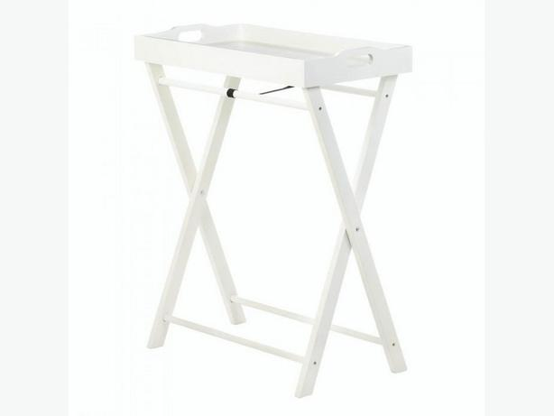 Folding White Wood TV Tray Table Stand Set of 2 Brand New