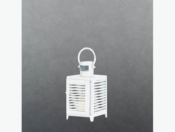 Small White Metal Candle Lantern Slatted Sides Set of 4 Brand New