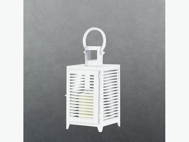 12-Inch White Metal Candle Lantern Slatted Sides Set of 4 Brand New