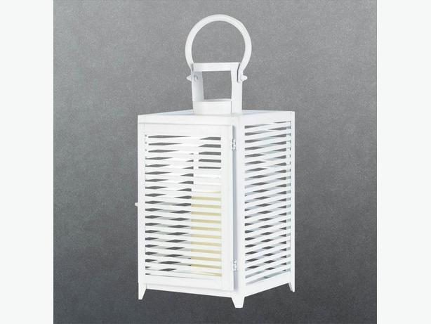 Large White Metal Candle Lantern Slatted Sides 3 Lot Brand New