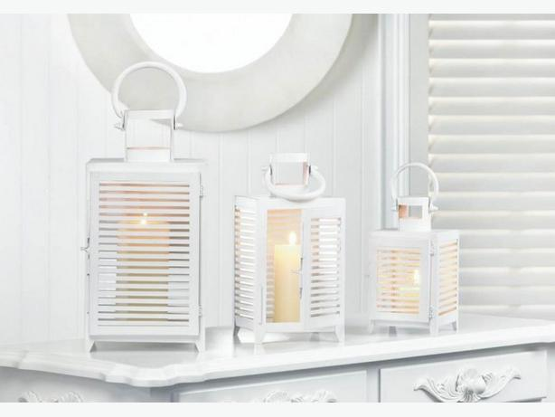 White Metal Candle Lantern Slatted Sides S/M/L 3PC Mixed Lot Brand New