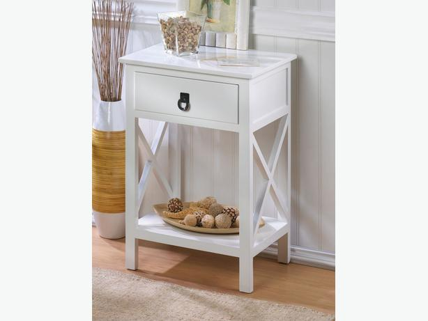 White Accent Side End Table Nightstand Drawer Shelf Lacquer Finish Brand New