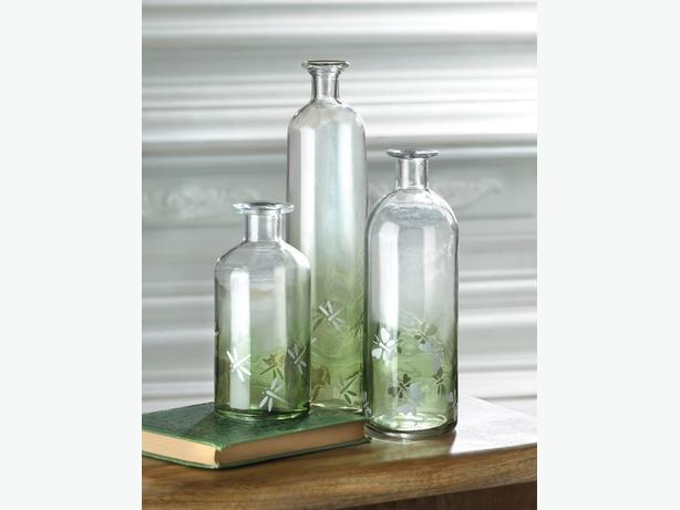 Decorative Glass Bottle S/M/L & Table Lamp 4PC Two-Tone Green