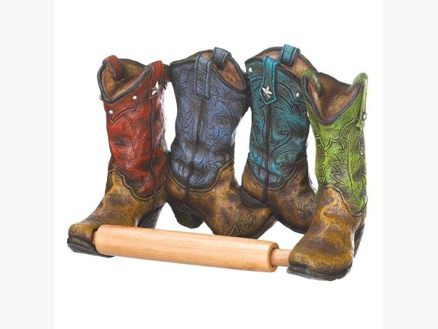 Country Western Bathroom Cowboy Boot Toilet Brush Toilet Paper Holder Oil Warmer