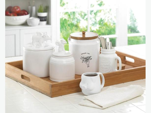Flying Pig Kitchen Canister Lidded Jar Coffee Cup Mug 5PC Mixed White New