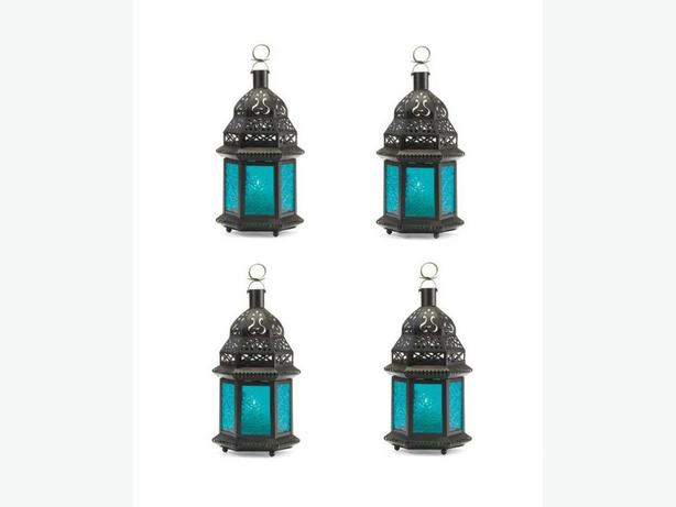 Large Candle Lantern Black Metal Blue Pressed Glass Panels 4 Lot New