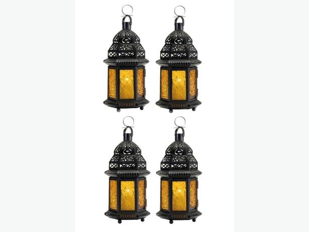 Large Candle Lantern Black Metal Yellow Pressed Glass Panels 4 + Candles
