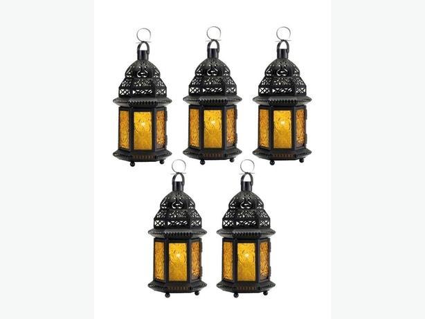 Large Candle Lantern Black Metal Yellow Pressed Glass Panels 5 Lot