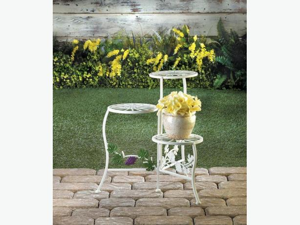 White Metal Plant Stand w/Grapevine Accent & Flowerpot Planter Set Choice 4PC