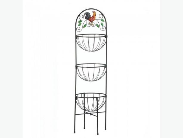 Chicken Rooster Tall Metal Basket & Tealight Candleholder Centerpiece