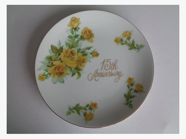 Vintage 15th Wedding Anniversary Plate