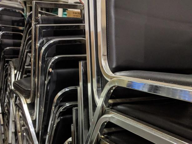 Chairs - chrome and foam, strong and stackable, 40 available